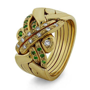 14K Gold 6 Band Diamond and Green Garnet Puzzle Ring 6BSENAGR - Uctuk