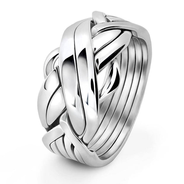 Mens 6 band STERLING SILVER Puzzle Ring 6FMS - Uctuk