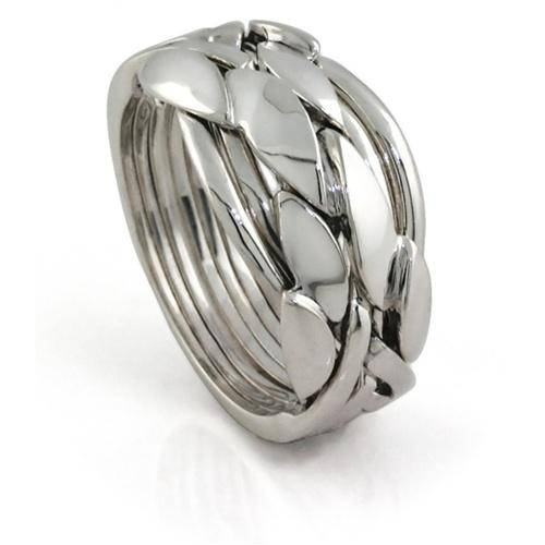 MENS 7 band STERLING SILVER Puzzle Ring 7BCS - Uctuk