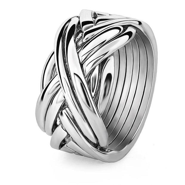 Mens 8 band STERLING SILVER Puzzle Ring 84SM - Uctuk