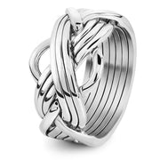 Mens 8 band STERLING SILVER Puzzle Ring 86MS - Uctuk