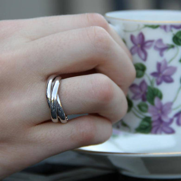 Sterling Silver 3 Band Rolling Ring - Uctuk