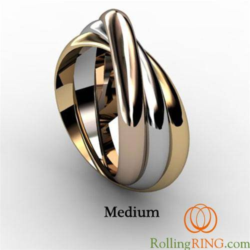 14K Solid Gold Tricolor Rolling Ring Medium Width - Uctuk