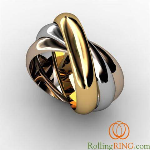 "14K Solid Gold Tricolor THICK Rolling Ring - <font color=""#FF0000"">IN STOCK! FREE SHIPPING!</font> - Uctuk"