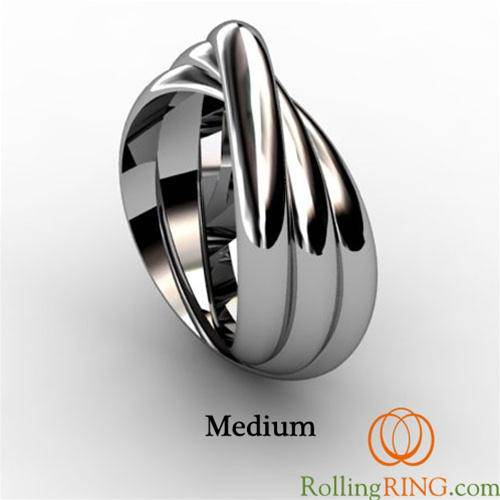 "14K Solid White Gold 3 Band Rolling Ring - <font color=""#FF0000"">IN STOCK! FREE SHIPPING!</font> - Uctuk"