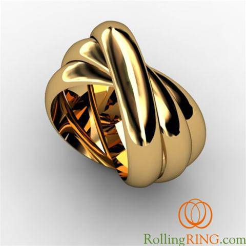 "14K Solid YELLOW Gold THICK Rolling Ring <font color=""#FF0000"">FREE SHIPPING!</font> - Uctuk"