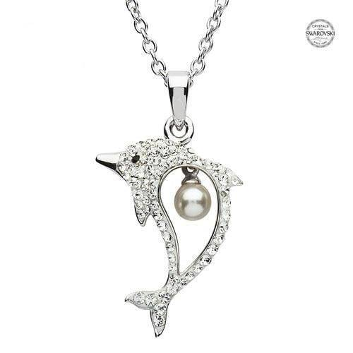 Sterling Silver Dolphin Pendant with White Swarovski Crystals and Pearl with Chain - OC19 - Uctuk