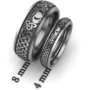 Titanium Claddagh Wedding Ring Set 1 - 8mm-4mm - Uctuk
