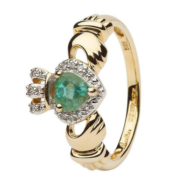 Ladies 14K Yellow Gold Claddagh Ring with Emerald and Diamonds - SL-14L82E - Uctuk