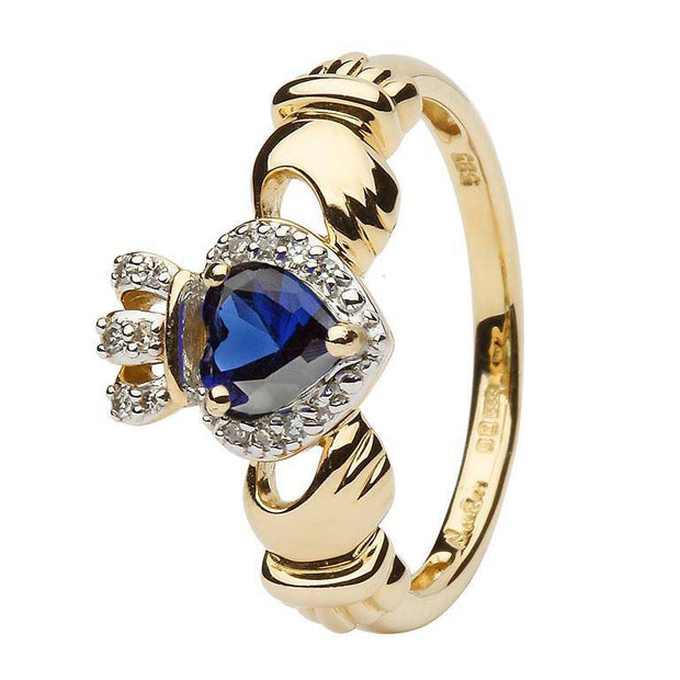 Ladies 14K Yellow Gold Claddagh Ring with Sapphire and Diamonds - SL-14L82S - Uctuk