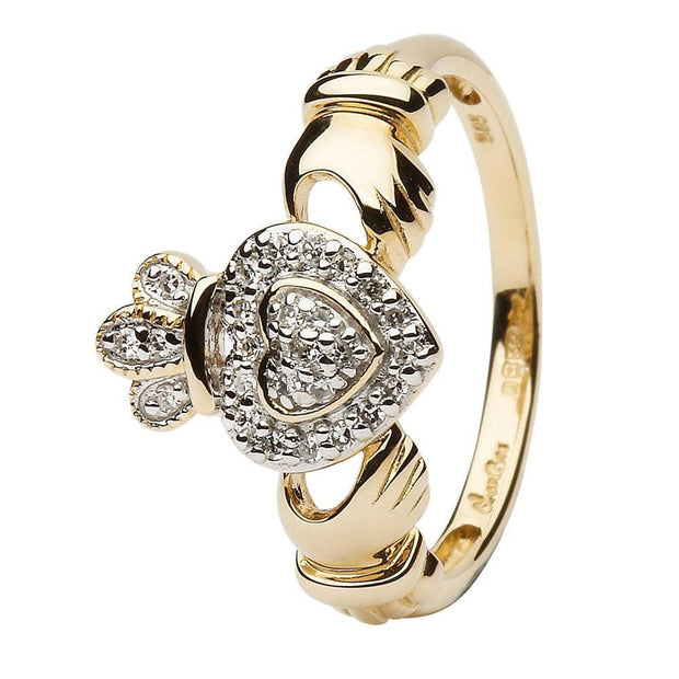 Ladies 14K Yellow Gold Claddagh Ring Encrusted With Diamonds - SL-14L83 - Uctuk