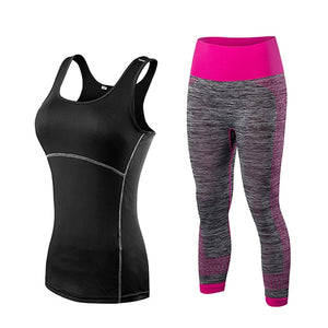 Ladies Sports Running Cropped Top 3/4 Leggings Yoga Gym Trainning Sets