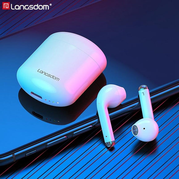 Langsdom T17 Wireless Earphones Volume Control Sports Bluetooth 5.0 Headphones True Wilress Earbuds with Dual Mic - Buyhops