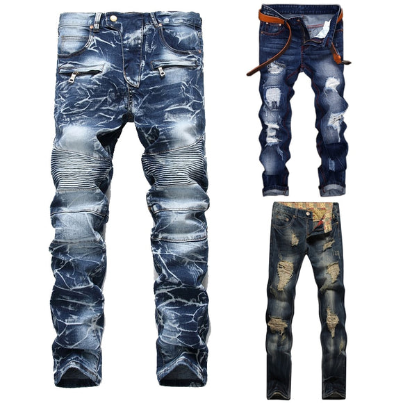 High Quality Washed Straight Slim Pleated Motorcycle Biker Jeans Casual Ripped  Male Denim