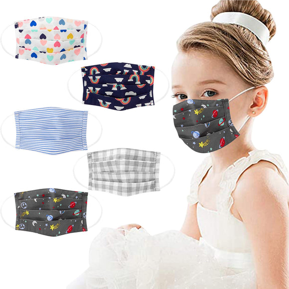 Fun Print Kids Mask Cotton Washable Easy Breathing Protection Face Cover