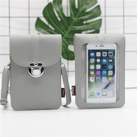 Women Transparent Touch Screen Cell Phone Holder Shoulder Bag Mini Flap Pouch