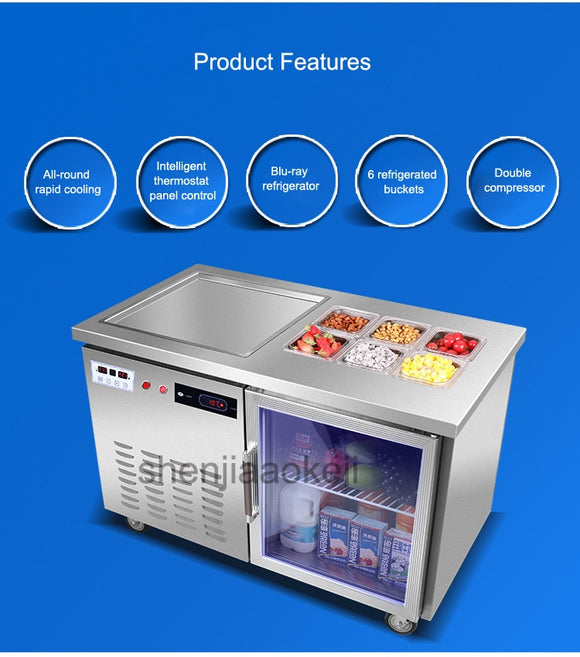 QBS-500F Smart Freezer fried ice machine Multifunction Fried yogurt machine Commercial fry ice cream roll machines  220v 1400w