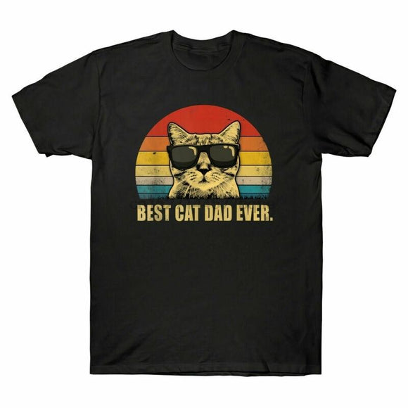 Best Cat Dad Ever Sunglasses Retro Vintage Funny T-Shirt Cotton Tee - Buyhops