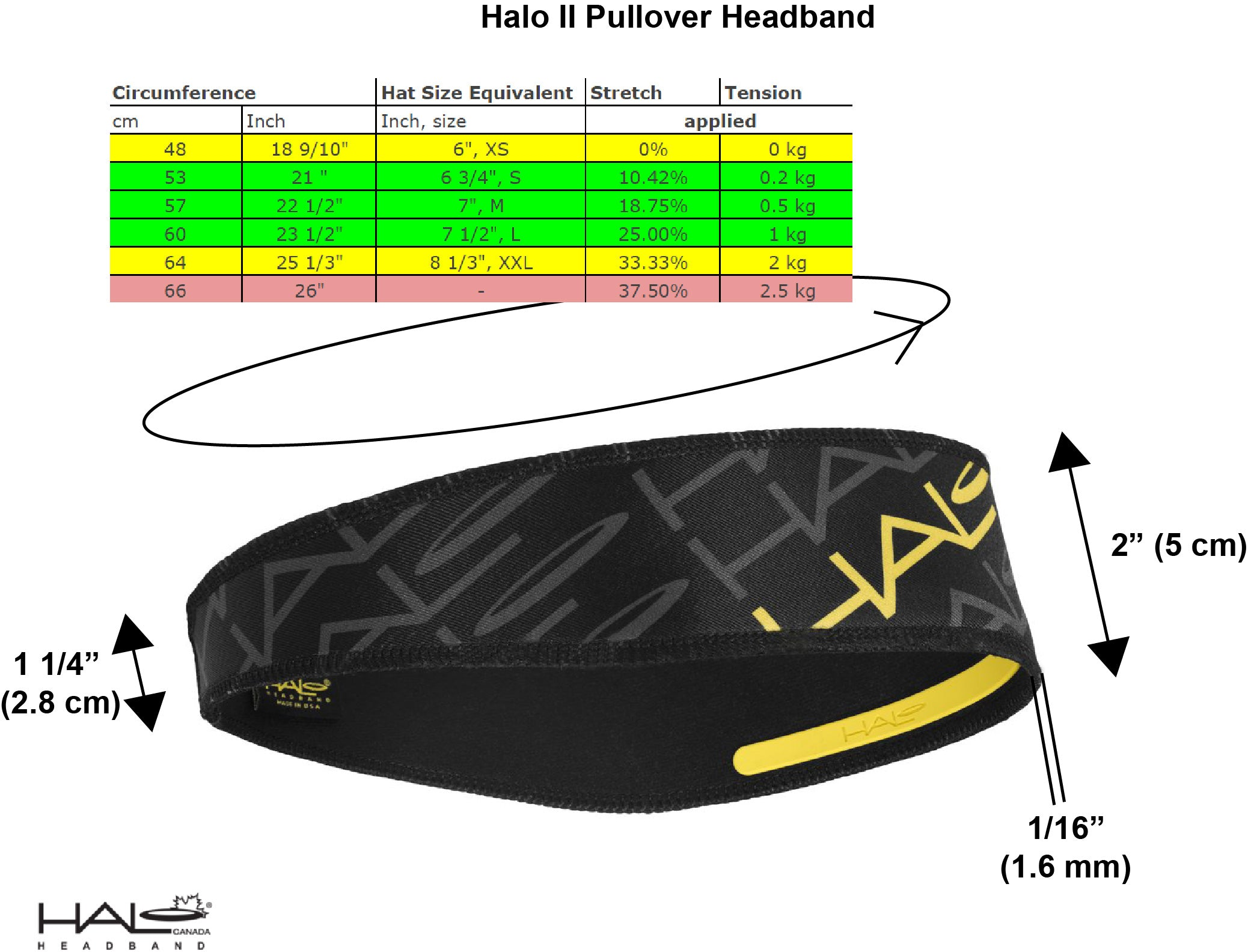 Halo II pullover sizing guide