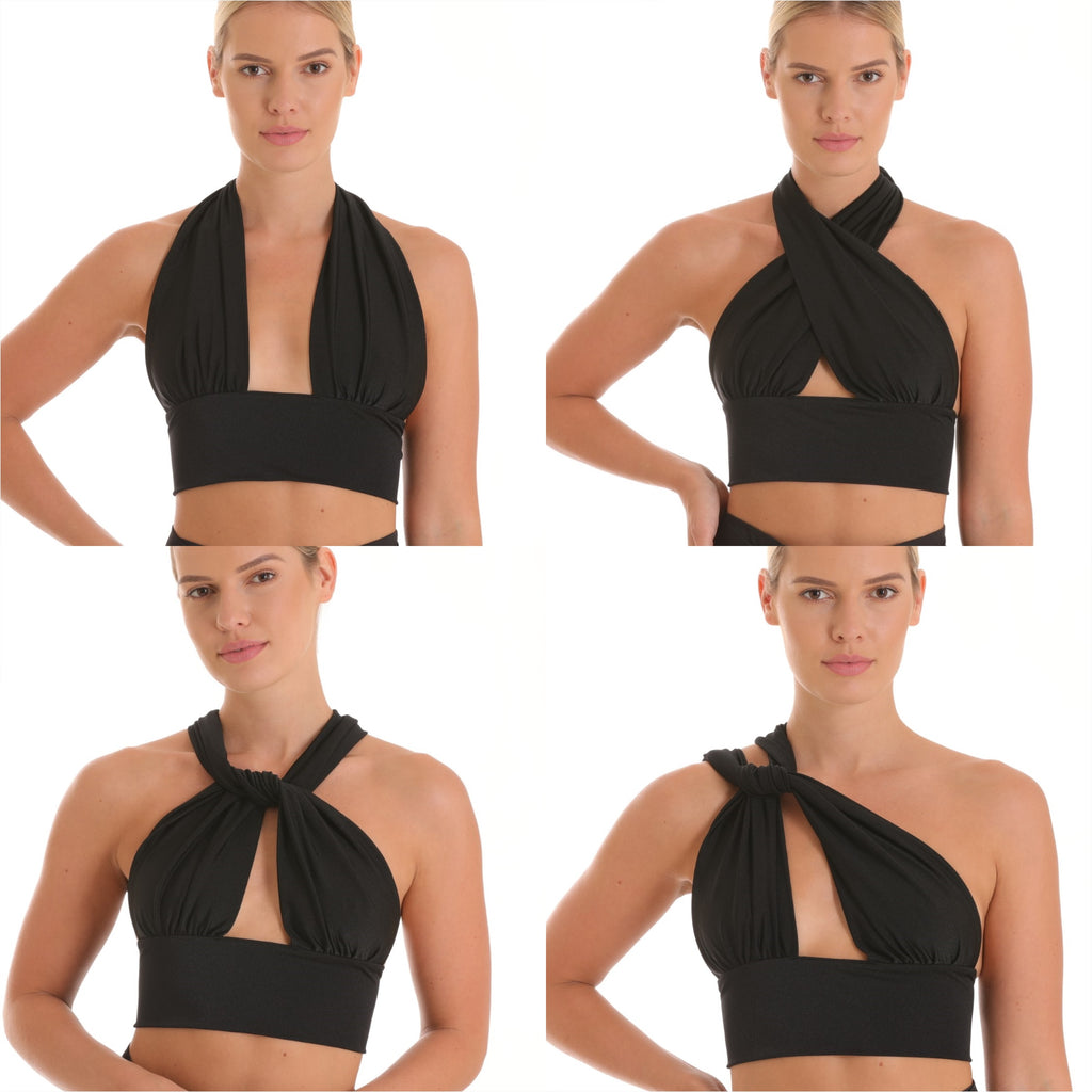Crop top transforms into 8 different ways to wear. Nylon lycra spandex top fits as a one size to any body. Resortwear piece can double as a swimsuit. Convertible clothing.