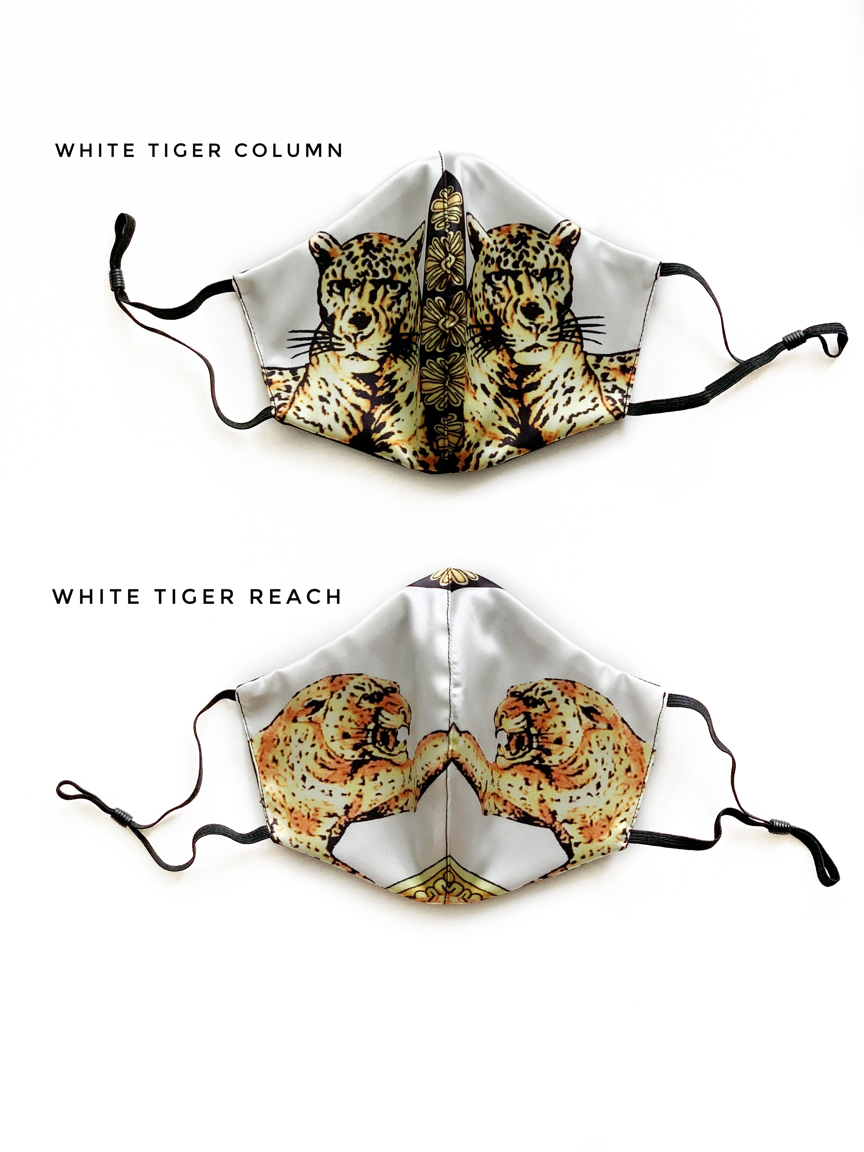 Face Cover - White Tiger Print