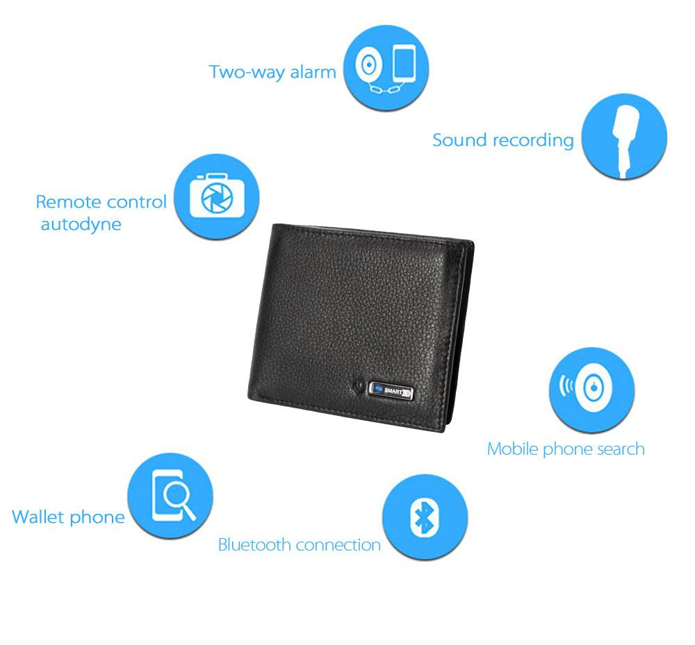 Smart Wallet RFID Leather with GPS Alarm Map Bluetooth Taking Photo Record Purse