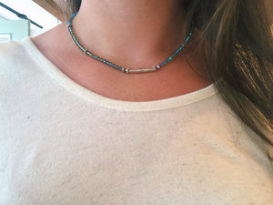 Necklace- Swarovski bicones with pewter bar