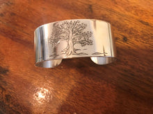 Load image into Gallery viewer, Engraved silver wide cuff bracelet, Tree