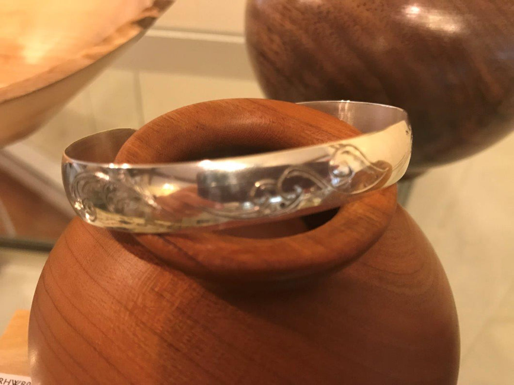 Engraved silver cuff bracelet, Waves