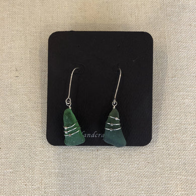 Earrings- green CC seaglass/ sterling