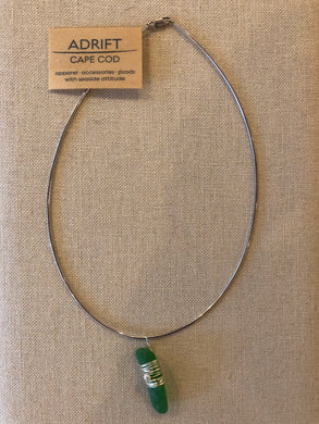 Necklace- sterling choker with green sea glass