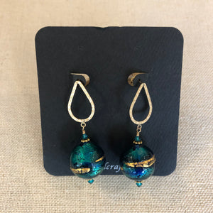 Earrings- Venetian turq/blue/gold