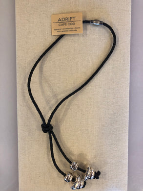 Necklace- black leather lariat with silver ceramics