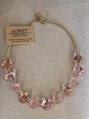 Necklace- Swarovski peach ice cubes/gold