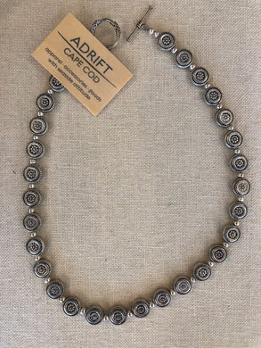 Necklace- pewter round discs