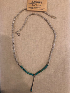 Necklace- silver/turquoise drop
