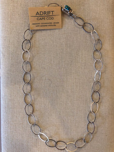 Necklace- sterling link chain with turquoise clasp