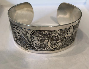 Engraved silver wide cuff bracelet, Banded Scroll