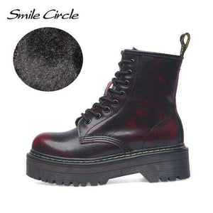 Falattar Store  Fur Fashion Round Toe Leather Boots Fur red / 36 Fur Fashion Round Toe Leather Boots