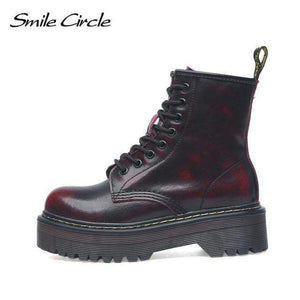 Falattar Store  Fur Fashion Round Toe Leather Boots Red / 42 Fur Fashion Round Toe Leather Boots