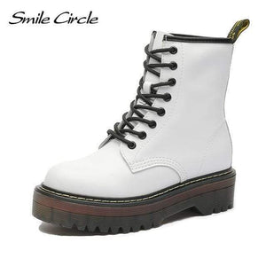 Falattar Store  Fur Fashion Round Toe Leather Boots White / 37 Fur Fashion Round Toe Leather Boots
