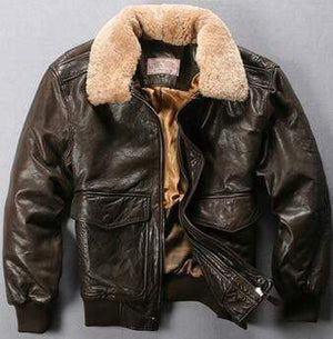 Falattar Store  Genuine Leather Air Force Flight Jacket Dark Brown / XXXL Genuine Leather Air Force Flight Jacket