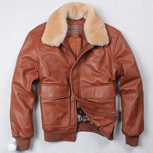 Falattar Store  Genuine Leather Air Force Flight Jacket Light Brown / S Genuine Leather Air Force Flight Jacket
