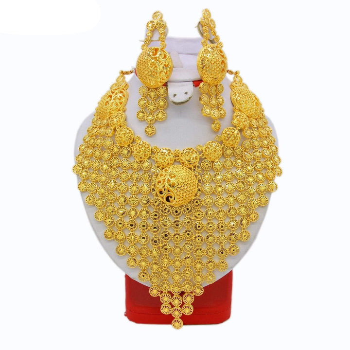High Quality Gold Color Necklace Earring Set, High Quality Gold Color Necklace Earring Set, Falattar Store