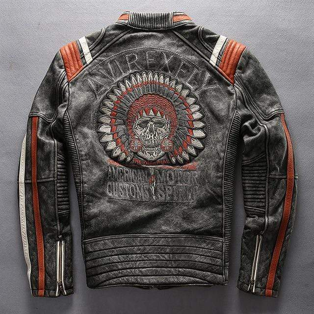 Falattar Store  Vintage Skull Genuine Leather Motorcycle Jacket Vintage Black / M Vintage Skull Genuine Leather Motorcycle Jacket