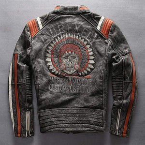 Falattar Store  Vintage Skull Genuine Leather Motorcycle Jacket Vintage Skull Genuine Leather Motorcycle Jacket