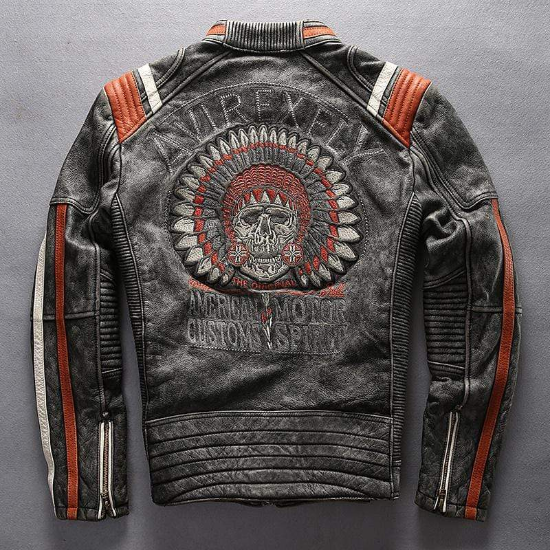 Vintage Skull Genuine Leather Motorcycle Jacket, Vintage Skull Genuine Leather Motorcycle Jacket, Falattar Store