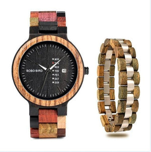 Falattar Store  watch bracelet green / China Wooden Watch with Bracelet Gifts Box