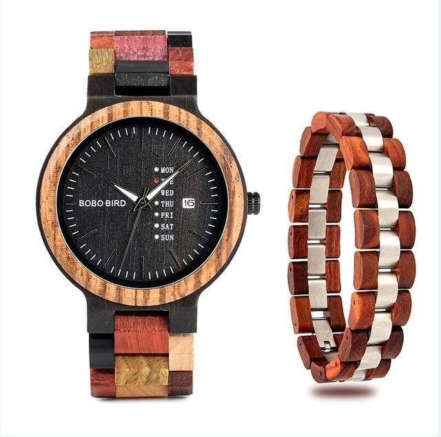 Falattar Store  watch bracelet red / China Wooden Watch with Bracelet Gifts Box