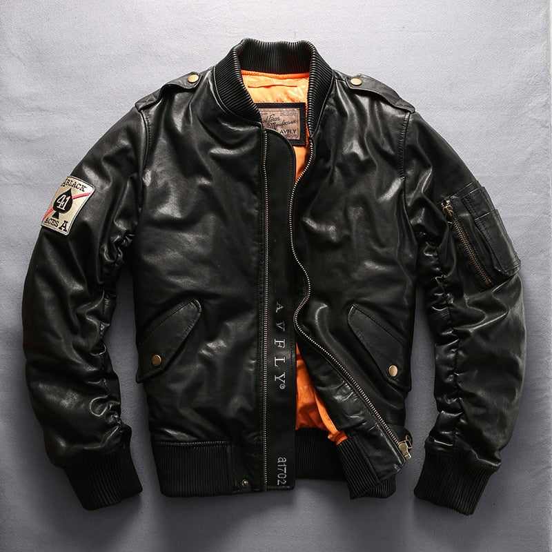 Aviator Genuine Sheepskin Baseball Jacket